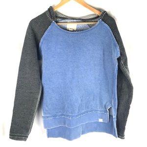 BLUE 84 hoodie frayed soft blue gray M sweatshirt